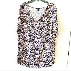 Jessica Abstract Print T-Shirt with Draping  Neck